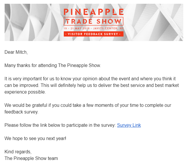 pineapple trade show email template
